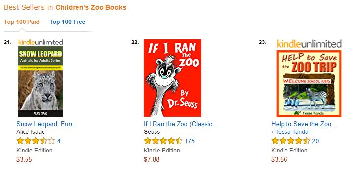 bestseller ranking next to dr seuss